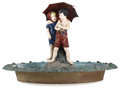 Fine Art - Sculpture, American:Antique (Pre 1900), Boy and Girl Fountain. Attributed to the Joseph Winn Fiske Foundry, America, New York. 19th century. Cast lead and zinc -...