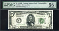 Small Size:Federal Reserve Notes, Fr. 1952-C $5 1928B Dark Green Seal Federal Reserve Note. PMG Choice About Unc 58 EPQ.. ...