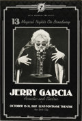 """Music Memorabilia:Posters, Jerry Garcia """"13 Magical Nights on Broadway"""" Lunt-Fontanne ConcertPoster (Bill Graham, 1987) A fantastic black and white p... (Total:1 Item)"""