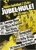 Music Memorabilia:Posters, Stevie Ray Vaughan Jubel-Hule Norway Concert Poster (1984). Thismodern-primitive poster, printed in black, white, and yell...(Total: 1 Item)