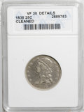 Bust Quarters: , 1835 25C --Cleaned--ANACS. VF30 Details. NGC Census: (30/296). PCGS Population (20/221). Mintage: 1,952,000. Numismedia Wsl...