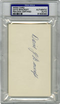 Autographs:Index Cards, David J. Bancroft Signed Index Card PSA Authentic. John McGraw's field leader Dave Bancroft offers a nice full-name signatu...