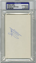 Autographs:Index Cards, Nolan Ryan Signed Index Card PSA Authentic. Baseball's all-time strikeout leader offers an exceptional example of his signa...