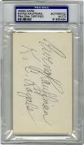 Autographs:Index Cards, Ewing Kauffman Signed Index Card PSA Authentic. Ewing Kauffman, former owner of the Kansas City Royals when they were an ex...