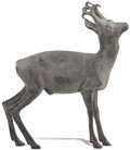 Fine Art - Sculpture, European:Antique (Pre 1900), Lead Antique Deer Sculpture. Unknown maker, possibly German.19th/early 20th century. 46 x 27 inches . . ...