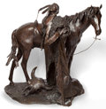 Sculpture, ERNEST BERKE (American, b. 1921). The Evening War Prayer, 1988. Bronze with patina. 75 inches (190.5 cm). Ed. 1/2. Signe...