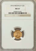 Commemorative Gold: , 1916 G$1 McKinley MS67 NGC. NGC Census: (71/1). PCGS Population(71/0). Mintage: 9,977. Numismedia Wsl. Price for problem f...