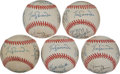 Baseball Collectibles:Balls, Los Angeles Dodgers Multi Signed Baseballs Lot of 5....