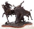 Sculpture, ERNEST BERKE (American, b. 1921). Buffalo Hunt, 1991. Bronze with patina. 21 inches (53.3 cm). Ed. 1/12. Signed and date... (Total: 2 Items)