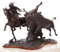 ERNEST BERKE (American, b. 1921) Buffalo Hunt, 1991 Bronze with patina 21 inches (53.3 cm) Ed