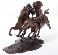 ERNEST BERKE (American, b. 1921-) The Ceremony on the Fastest Horse, 1978 Bronze with patina 18-1