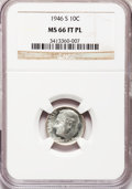 Roosevelt Dimes, 1946-S 10C MS66 Full Bands Prooflike NGC....
