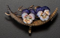 Estate Jewelry:Brooches - Pins, Antique Enamel & Diamond Pansy Brooch. ...