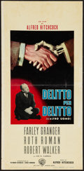 "Movie Posters:Hitchcock, Strangers on a Train (Warner Brothers, R-1961). Italian Locandina (13"" X 27.5""). Hitchcock.. ..."