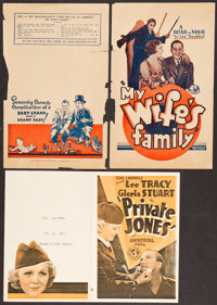 "Private Jones & Other Lot (Universal, 1933). Heralds (2) (7"" X 9.5"" & 9"" X 11""). War. ... (T..."