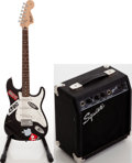 Musical Instruments:Electric Guitars, 2002 Fender Squire Strat Black Solid Body Electric Guitar and Squire SP-10 Guitar Amplifier, Serial #s IC020832040 and CAXNH09...