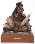 Sculpture, JAN FISHER (American, 20th Century). Chief Medicine Crow, 1993. Bronze with polychrome. 16 inches (40.6 cm). Ed. 2/78. M...