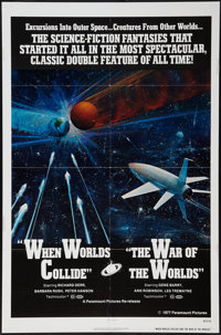 """The War of the Worlds/When Worlds Collide Combo (Paramount, R-1977). One Sheet (27"""" X 41""""). Science Fiction..."""