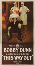 """Movie Posters:Comedy, This Way Out (Arrow Film, 1924). Three Sheet (41"""" X 79.5""""). Comedy.. ..."""