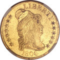 Early Half Eagles, 1806 $5 Round Top 6, 7x6 Stars AU55 NGC. BD-6, R.2....
