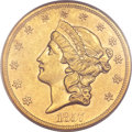 Liberty Double Eagles, 1857-S $20 AU50 PCGS. Variety 20B....