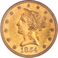 Liberty Eagles, 1854-S $10 AU50 PCGS. CAC Gold Label....