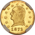 California Fractional Gold, 1872 25C Washington Round 25 Cents, BG-818, Baker-A504, Low R.4,MS67 NGC....