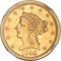 Liberty Quarter Eagles, 1849 $2 1/2 MS61 NGC....