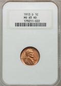 Lincoln Cents, 1913-D 1C MS65 Red NGC....