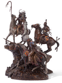 DAVID MANUEL (American, b. 1940) Mighty Chiefs on the Little Big Horn, 1985 Bronze with patina 41