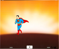 Super Friends Superman Production Cel with Clean-Up Drawing Animation Art Group (Hanna-Barbera, 1973).... (Total: 2 Orig...