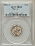 Mercury Dimes: , 1916-S 10C MS63 PCGS. PCGS Population (118/384). NGC Census:(75/304). Mintage: 10,450,000. Numismedia Wsl. Price for probl...