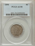 Liberty Nickels: , 1890 5C AU50 PCGS. PCGS Population (8/374). NGC Census: (1/285).Mintage: 16,259,272. Numismedia Wsl. Price for problem fre...