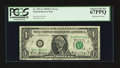 Error Notes:Ink Smears, Fr. 1907-G $1 1969D Federal Reserve Note. PCGS Superb Gem New 67PPQ.. ...