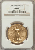 Modern Bullion Coins, 2006 $50 One-Ounce Gold Eagle MS70 NGC. NGC Census: (0). PCGSPopulation (433). (#89988)...