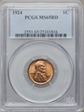 Lincoln Cents: , 1924 1C MS65 Red PCGS. PCGS Population (196/73). NGC Census:(98/56). Mintage: 75,178,000. Numismedia Wsl. Price for proble...