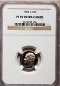Proof Roosevelt Dimes: , 1983-S 10C PR69 Ultra Cameo NGC. NGC Census: (539/162). PCGSPopulation (3005/176). Numismedia Wsl. Price for problem free...