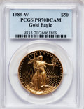 Modern Bullion Coins: , 1989-W G$50 One-Ounce Gold Eagle PR70 Deep Cameo PCGS. PCGSPopulation (268). NGC Census: (735). Mintage: 54,570. Numismedi...