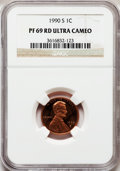 Proof Lincoln Cents, 1990-S 1C PR69 Red Ultra Cameo NGC. NGC Census: (673/75). PCGSPopulation (3275/109). Numismedia Wsl. Price for problem f...