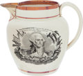 Political:3D & Other Display (pre-1896), War of 1812: Patriotic Strawberry Luster Pitcher....