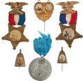 Political:Ferrotypes / Photo Badges (pre-1896), Harrison & Reid: Jugate Badge Plus Five Other CampaignItems.... (Total: 6 Items)