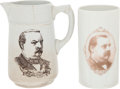Political:3D & Other Display (pre-1896), Grover Cleveland: Rare Campaign Mugs.... (Total: 2 Items)