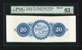 Canadian Currency: , Halifax, NS- The Peoples Bank Halifax $20 ND (1864) Ch. #580-10-02BP Back Proof. ...