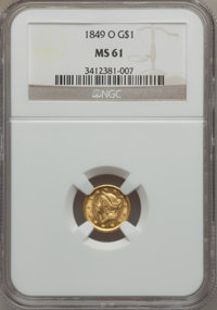 1849-O G$1 Open Wreath MS61 NGC. Variety 2