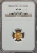 Gold Dollars, 1849 G$1 Closed Wreath MS64 NGC. Breen-6005....
