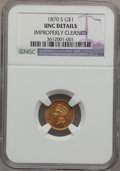 Gold Dollars, 1870-S G$1 -- Improperly Cleaned -- NGC Details. Unc....
