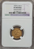 Classic Quarter Eagles, 1839-C $2 1/2 -- Scratches -- NGC Details. XF. Breen-6150, Winter-2, Variety 22, R.4....