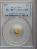 California Fractional Gold, 1872 25C Washington Octagonal 25 Cents, Baker-503, BG-722, Low R.4,MS63 PCGS....