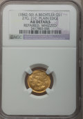 Territorial Gold, (1842-52) G$1 A. Bechtler Dollar, 27G. 21C., Plain Edge --Repaired, Whizzed -- NGC Details. AU. K-24, R.3....