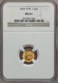 Gold Dollars: , 1854 G$1 Type One MS61 NGC. NGC Census: (789/2115). PCGS Population(167/1039). Mintage: 855,502. Numismedia Wsl. Price for...